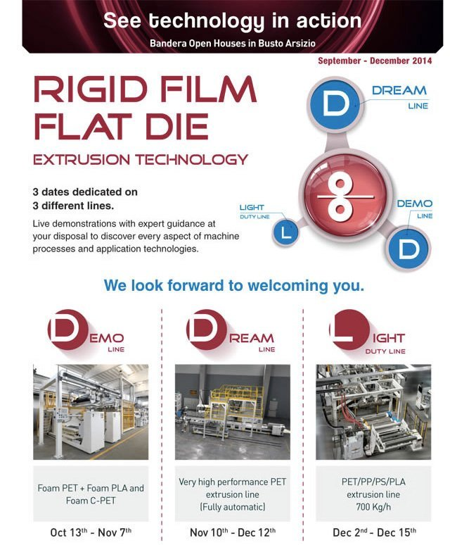 Bandera Open House in Busto Arsizio: Rigid film flat die